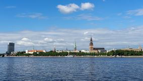 Panoramic view across Daugava river on Riga cathedral in old town, Latvia, July 25, 2018 royalty free stock photos