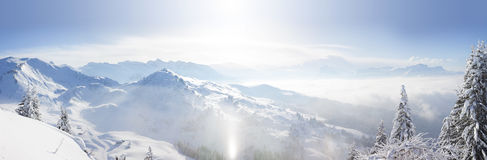 Panoramic view across the French Alps Royalty Free Stock Photo