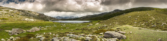 Panoramic view across Lac De Nino in Corsica Stock Photo