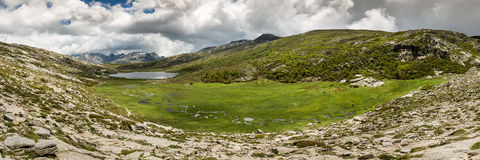 Panoramic view across Lac De Nino in Corsica Stock Photos