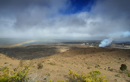 Panoramic view of active Kilauea volcano crater stock photo