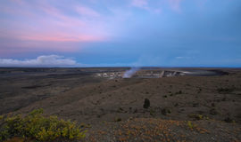 Panoramic view of active Kilauea volcano crater Stock Photo