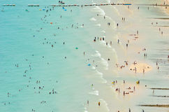 Panoramic view and activity on the beach Stock Photos