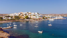 Panoramic view of Adamantas village, Milos island, Cyclades, Greece Stock Images