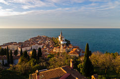 Panoramic view of adriatic sea and city of Piran in Istria Royalty Free Stock Photography