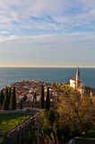 Panoramic view of adriatic sea and city of Piran in Istria Stock Photography