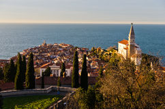 Panoramic view of adriatic sea and city of Piran in Istria Stock Photo