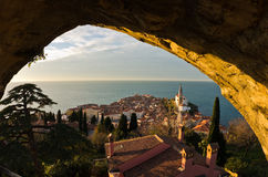 Panoramic view of adriatic sea and city of Piran in Istria Stock Photos