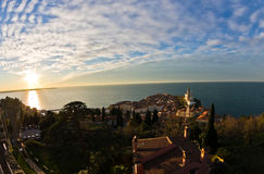 Panoramic view of adriatic sea and city of Piran in Istria Royalty Free Stock Photo