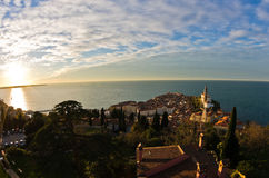 Panoramic view of adriatic sea and city of Piran in Istria Royalty Free Stock Photos
