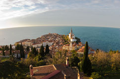 Panoramic view of adriatic sea and city of Piran in Istria Royalty Free Stock Image