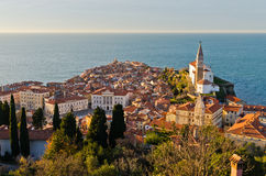 Panoramic view of adriatic sea and city of Piran in Istria Stock Image
