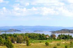 Panoramic view Aegean sea landscape, Sithonia,  Chalkidiki Royalty Free Stock Photos