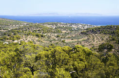 Panoramic view of Aegina island Royalty Free Stock Photos