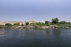 Panoramic view Aga Khan Mausoleum and Nile´s bank from the water Stock Photos