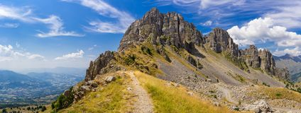 Panoramic view of Aiguilles de Chabrieres in Summer. Ecrins National Park, Hautes-Alpes, Alps. Panoramic view of Aiguilles de Chabrieres Chabrieres Needles in stock photography
