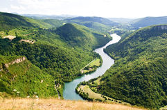 Panoramic view on Ain river. A river meandering between green hills Royalty Free Stock Photo