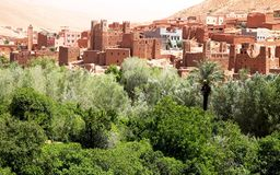 : Panoramic view of Ait Benhaddou, a UNESCO world heritage site i royalty free stock images