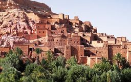 Panoramic view of Ait Benhaddou, a UNESCO world heritage site in Morocco. Kasbah, ksar. royalty free stock photography