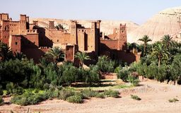 Panoramic view of Ait Benhaddou, a UNESCO world heritage site in Morocco. Kasbah, ksar. stock photo