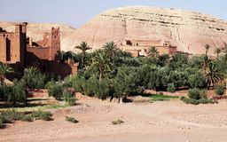 Panoramic view of Ait Benhaddou, a UNESCO world heritage site in Morocco. Kasbah, ksar. royalty free stock photo