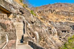 View of the Ajanta Caves. UNESCO world heritage site in Maharashtra, India. Panoramic view of the Ajanta Caves. A UNESCO world heritage site in Maharashtra royalty free stock photos