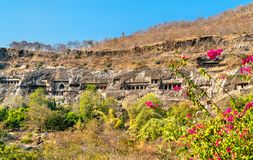 View of the Ajanta Caves. UNESCO world heritage site in Maharashtra, India. Panoramic view of the Ajanta Caves. A UNESCO world heritage site in Maharashtra stock photography