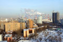 Panoramic view of the Akademichesky district of Moscow, Russia royalty free stock photo