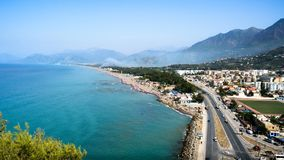 Landscape view of akbou city, in bejaia, algeria. Panoramic view of akbou city situated in north algeria, in béjaïa wilaya, at a beautiful summer day royalty free stock photo