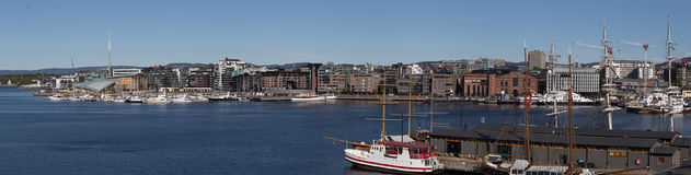 Panoramic view of Aker Brygge Marina Royalty Free Stock Images