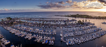 Panoramic view of the Ala Wai Boat Harbor Royalty Free Stock Photography