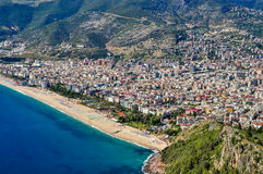 Panoramic view of Alanya and Cleopatra beach from Alanya Castle royalty free stock image