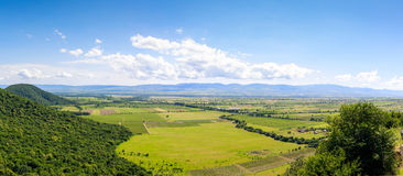 Panoramic view of the Alazani valley from the height of the hill. Kakheti region. Georgia stock photo