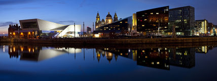 Panoramic view from Albert Dock in Liverpool. The beautiful panoramic view of the Liverpool Pier Head taken from the Albert Dock.  The view takes in sights Royalty Free Stock Images