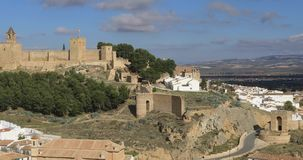 Panoramic view on Alcazaba fortress in Antequera stock video