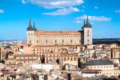 Panoramic view on Alcazar fortified palace, Toledo Royalty Free Stock Photography