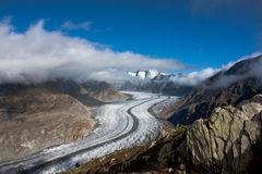 Panoramic view of Aletsch glacier Stock Photography