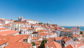 Panoramic view of the Alfama district in Lisbon Royalty Free Stock Photo