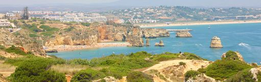 Panoramic view of Algarve, Southern Portugal royalty free stock photos