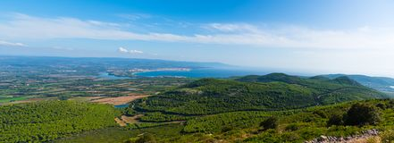 Panoramic view of Alghero coastline on a sunny day stock images