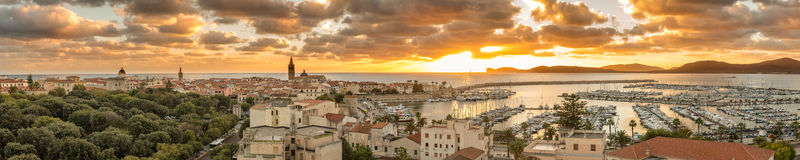 Panoramic view of Alghero in Sardinia at sunset Stock Photo