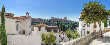 Panoramic view of the Alhambra. The Arabian quarter Albaicin and the view of the world famous Alhambra in Granada royalty free stock image
