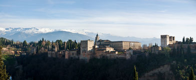 Panoramic View of Alhambra Castle Royalty Free Stock Photography