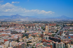 Panoramic view of Alicante city from the watchtower Santa Barbar Stock Photography