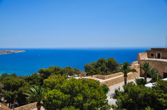 Panoramic view of Alicante city from the watchtower Santa Barbar Royalty Free Stock Photos