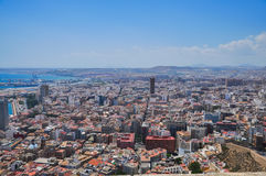 Panoramic view of Alicante city from the watchtower Santa Barbar Stock Photo