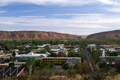 Panoramic View of Alice Springs. Cityscape of Alice Springs with surrounding mountains stock photo
