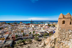 Panoramic view of Almeria old town and harbour. View of Almeria (Almería) old town and port from the castle (Alcazaba of Almeria), Spain Royalty Free Stock Image