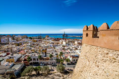 Panoramic view of Almeria old town and harbour. View of Almeria (Almería) old town and port from the castle (Alcazaba of Almeria), Spain Royalty Free Stock Photography