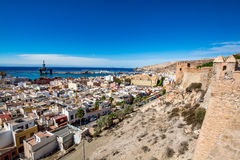 Panoramic view of Almeria old town and harbour. View of Almeria (Almería) old town and port from the castle (Alcazaba of Almeria), Spain Royalty Free Stock Images